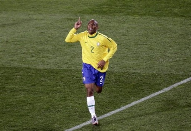Maicon celebrates after scoring in the WC