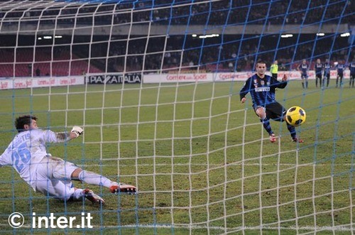 chivu converts his penalty against Napoli in the Coppa Italia 2011
