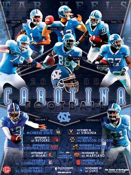 2008 Schedule Poster Tar Heel Blog