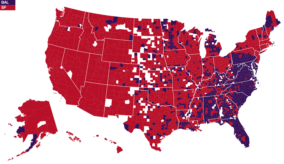 New NFL Fan Map Reveals Surprising Regional Allegiances Silver - Atlanta falcon us fan map