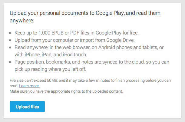 google play books enables user ebook uploads google drive support