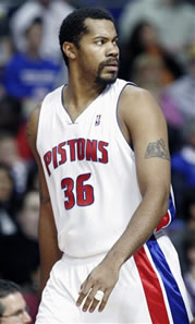 Rasheed Wallace heads back to the locker room after being ejected.