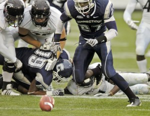 A photo from UConn's 40-16 win over Big East champion Cincinnati from 40-16