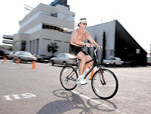 Spurrier on Bike