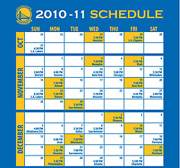 photograph regarding Warriors Schedule Printable referred to as 2010-2011 Golden Place Warriors Timetable is Right here! - Golden