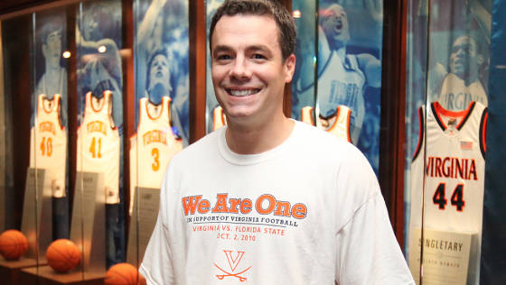 Basketball head coach Tony Bennett supporting the white out, courtesy VirginiaSports.com