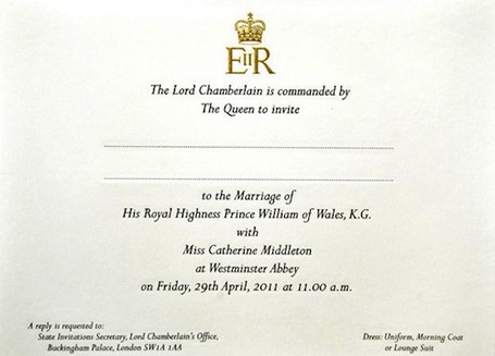kate and prince william wedding invitation. prince william kate wedding