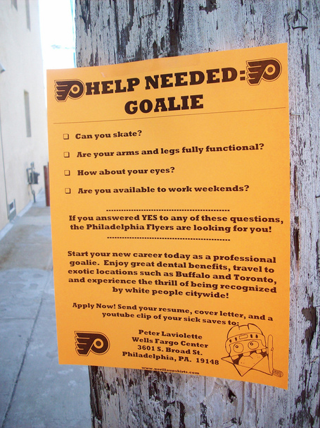 Philadelphia Flyers Advertise For Goaltenders 'Help Wanted' Posters, Or Something