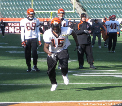 Chad Ochocinco wears Chris Henry's No. 15 jersey at practice on Thursday.