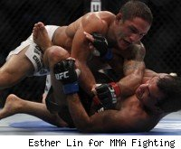 Chad Mendes pounds Rani Yahya at UFC 133.
