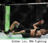 Rafael dos Anjos knocks out George Sotiropoulos at UFC 132.