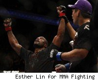 Rampage Jackson gets his hands raised over Lyoto Machida.