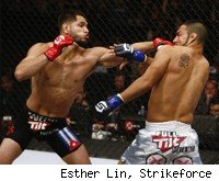 Jorge Masvidal punches Billy Evangelista at Strikeforce: Feijao vs. Henderson.