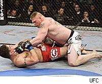 Brock Lesnar chokes Frank Mir