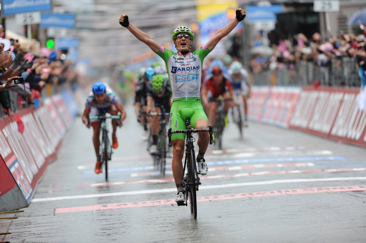 Photo: Enrico Battaglin (Bardiani-CSF Inox) wins the sprint for 9th place..