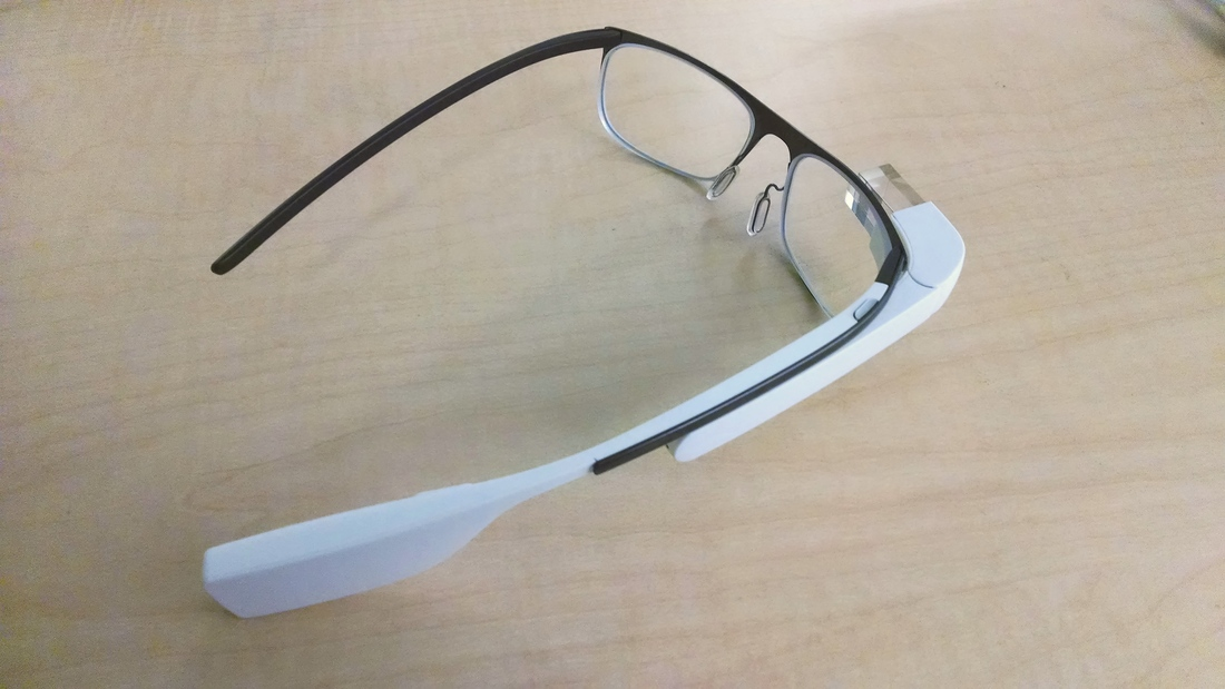 9dcc5886d5 The device looks surprisingly familiar  it doesn t appear to be much more  than a standard pair of glasses with Google Glass s distinctive arm and  eyepiece ...